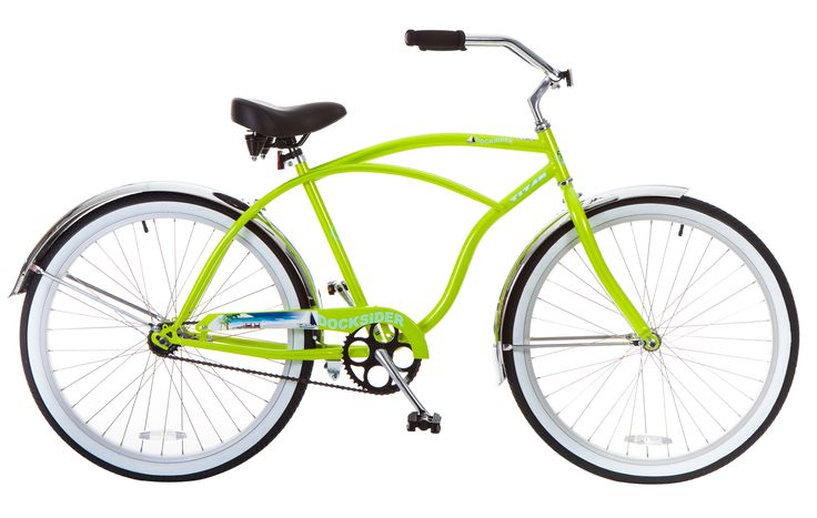 Titan Men's Docksider Beach Cruiser Single-Speed Bicycle, 18-Inch Frame, 26-Inch Wheels, Lime Green