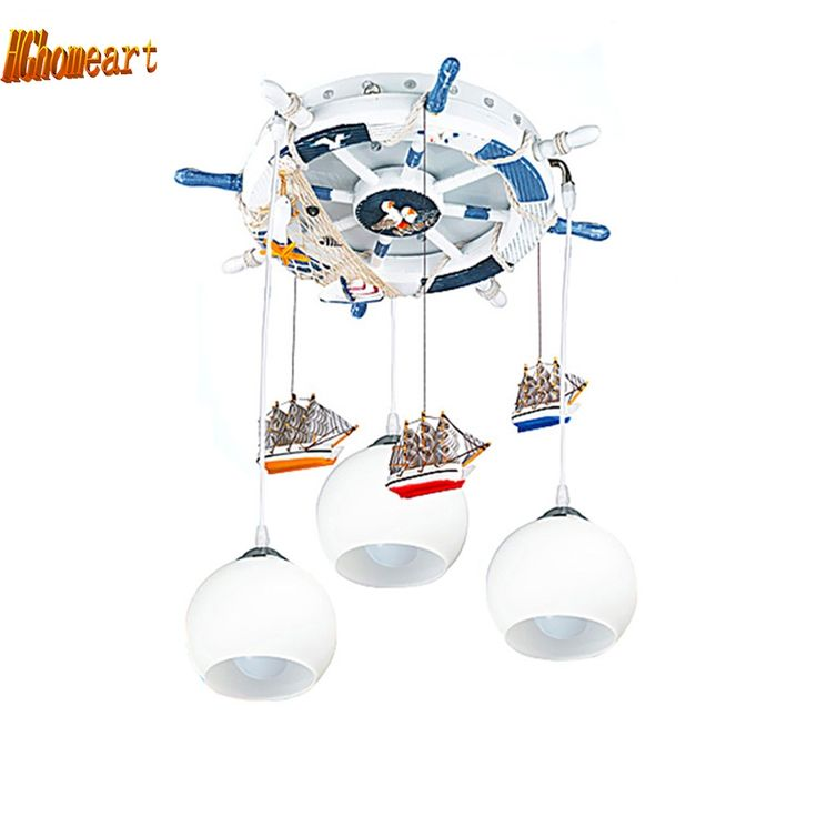 (153.34$)  Watch now - http://ai72a.worlditems.win/all/product.php?id=32489011248 - HGhomeart Mediterranean style rudder lamp boys and girls children's room chandelier bedroom study Led chandeliers