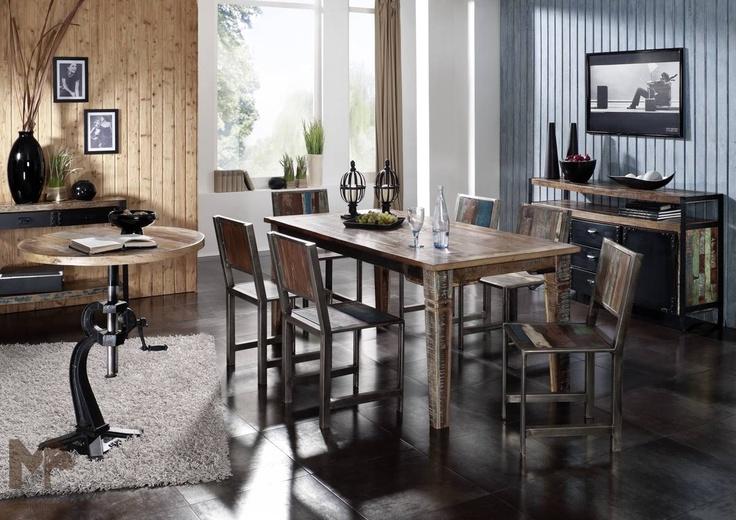 Möbel - Serie INDUSTRIAL: #Esszimmer, #recyceltes #Altholz und #Eisen • Alle #Produkte und #Infos zur #Möbelserie in unserem #Onlineshop: www.massivmoebel24.de