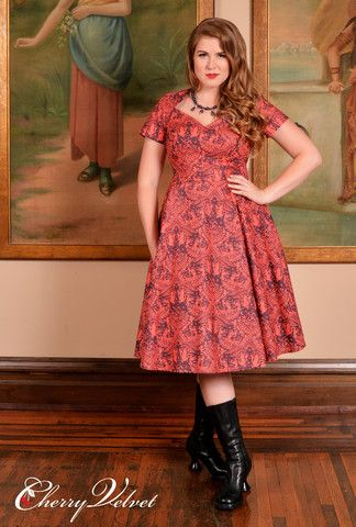 Ships, birds, stars and armillary spheres adorn this clever Damask style print. Bewitch the room! Sabrina Dress - Celestial Damask | Cherry Velvet | Vintage Inspired Dresses made in Canada #cherryvelvet #plusfashion #dresses #plussizepinup #pinup #retro #vintage #plus #pinupgirl