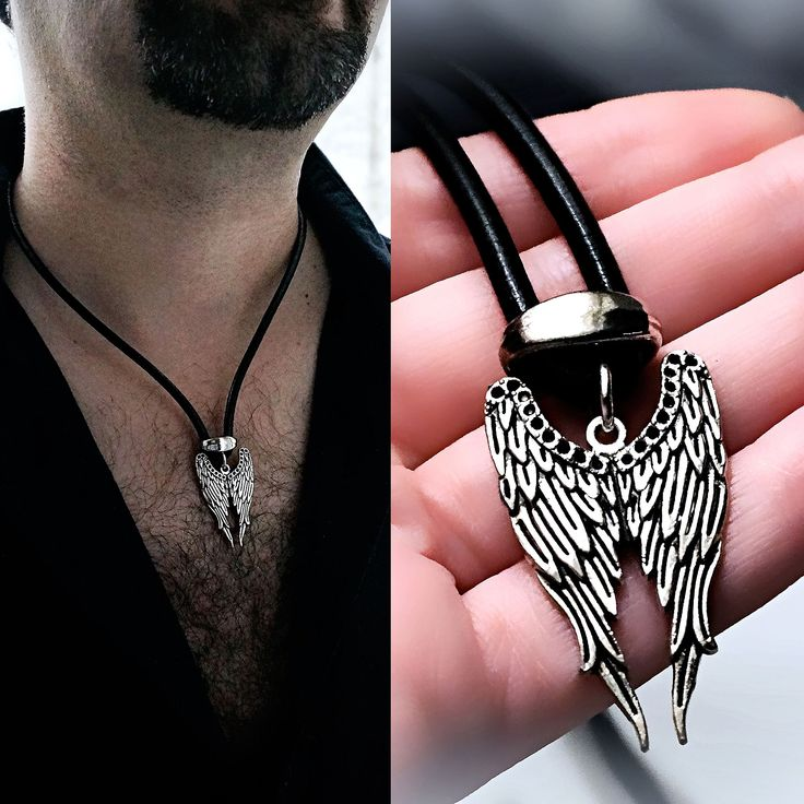 Mens pendant wings BDSM dominant necklace angel demon satanic man jewelry gift anniversary fetish accessories diabolic