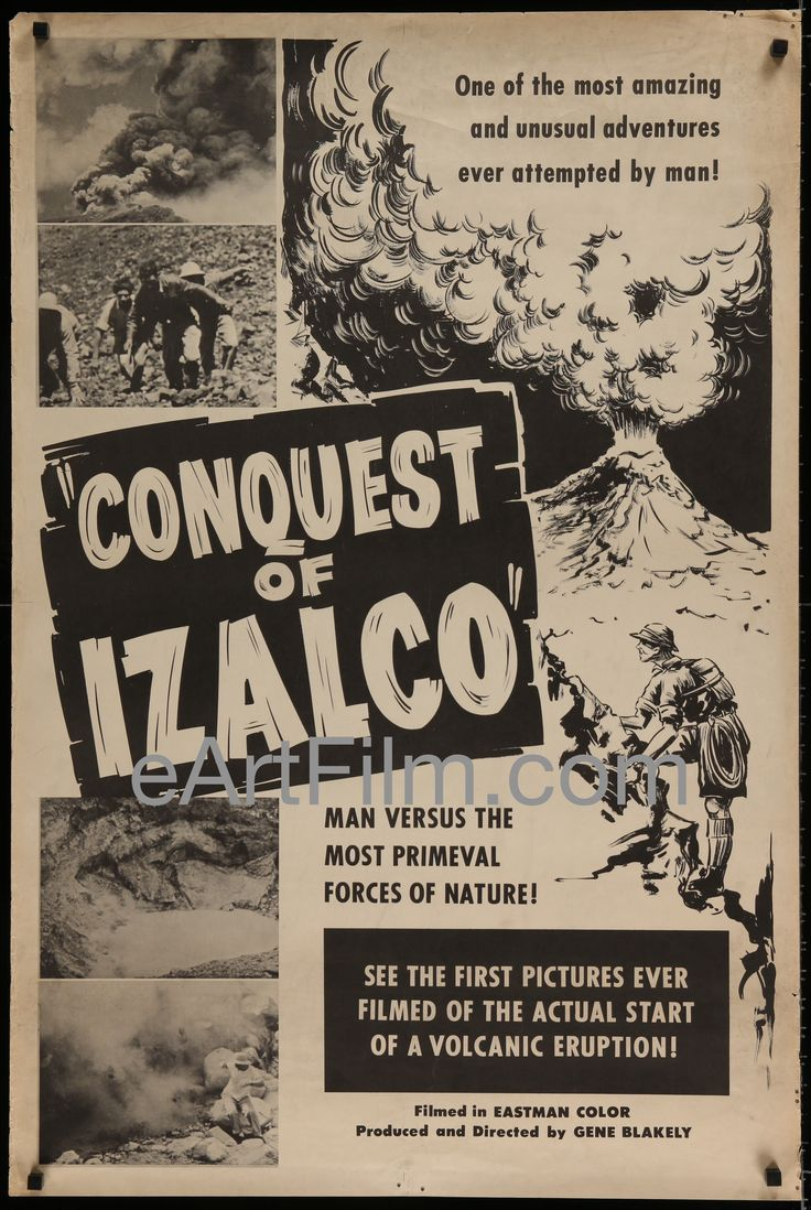 As with people, the effects of time give our posters more character: Conquest Of Izalc... Have a look! http://eartfilm.com/products/conquest-of-izalco-gene-blakely-volcano-nature-documentary-1960s-28x42?utm_campaign=social_autopilot&utm_source=pin&utm_medium=pin