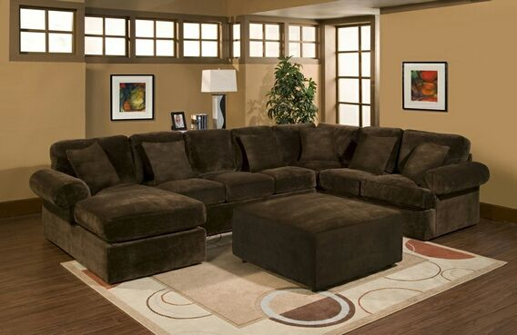 3 pc bradley sectional sofa with chocolate plush velour for Brown sectional with chaise
