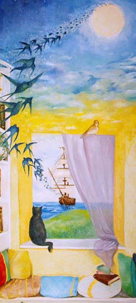 """Gatto, canarino e  rondini  -  Trompe l'oeil """"partenza"""" (particolare) eseguito da Pasquale Scognamiglio situato in un appartamento privato (casa Tiziana e Arturo) a  Quarto (Na)"""