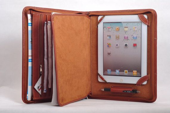 Top grain Multi-functional leather iPad case as your iPad portfolio for your iPad 1 and iPad 2 in Brown via Etsy...Happy Father's Day to me...in orange!