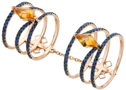 """Dionea Orcini """"Linee Misteriose"""" Citrine Sapphire Full Finger Ring"""