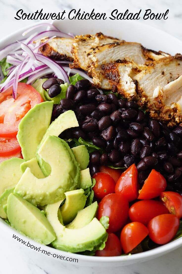 southwest chicken salad bowl with cilantro lime dressing - Salad Bowls