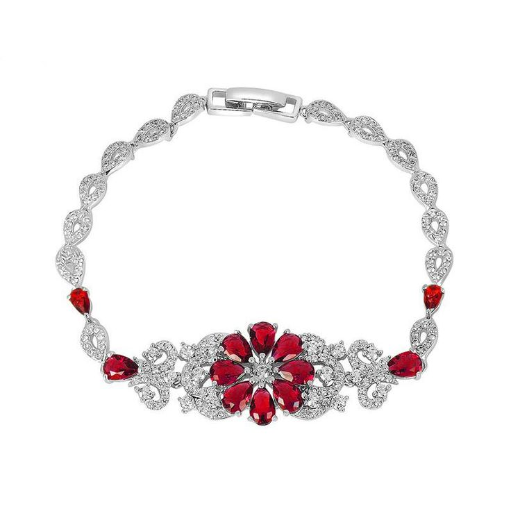 http://rubies.work/0074-ruby-rings/ *Free shipping worldwide* This silver tone bracelet has been set with synthetic ruby as a daisy flower and fitted with distinctive art deco bracelet with a touch of vintage. | bridal bracelet | wedding bracelet | bridesmaid bracelet | prom bracelet | silver bracelet | ruby red bracelet | bridal jewelry | wedding jewelry | prom jewelry | bridal jewellery | wedding jewellery | prom jewellery