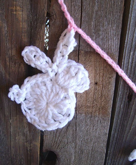 Easter Bunny Garland Crochet Bunny Garland by ThePrairieCottage
