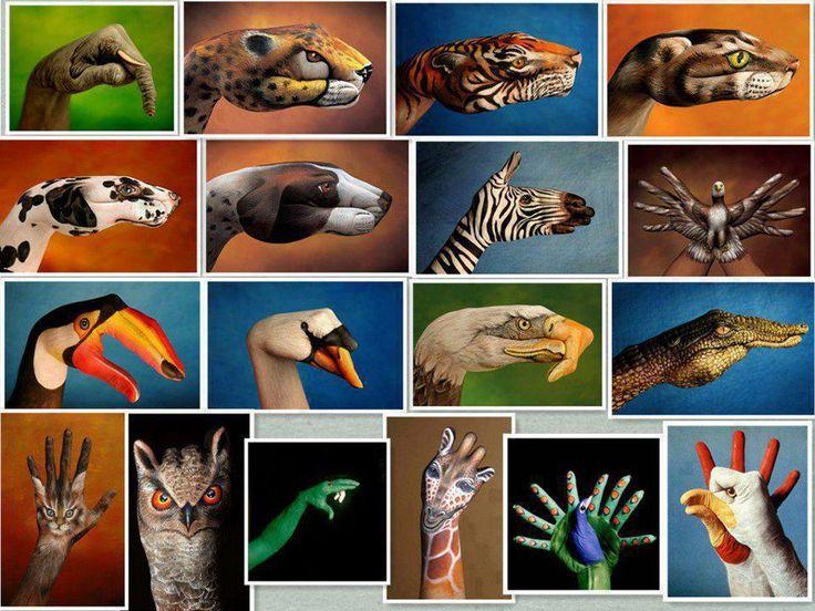 animal hand art ♥