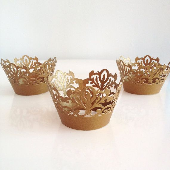 24 Laser Cut Damask Gold Shimmer Cupcake Wrappers, 24 CT Gold Cupcake Wrap