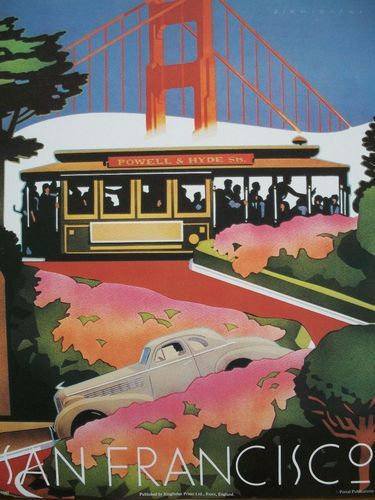 San Fransico travel art poster