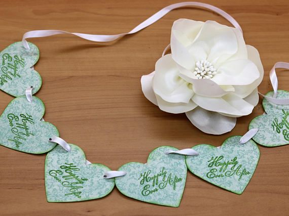 Mint Wedding Garland, Mint Paper Garland, Heart Garland, Heart Wedding Garland, Heart Garland Rustic, Wedding Chair Garland, Paper Chair