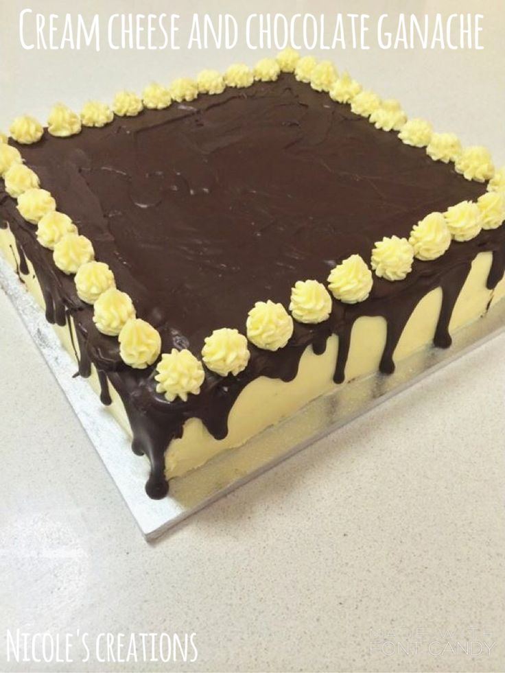 Mouth watering chocolate cake, with the delicious combination of cream cheese and chocolate ganache