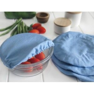 Food covers in denim design are a reusable alternative to cling wrap to keep food fresh in the fridge or on the table. Set of 4 food covers.