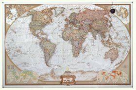 National Geographic antiek wereldkaart op magneetbord