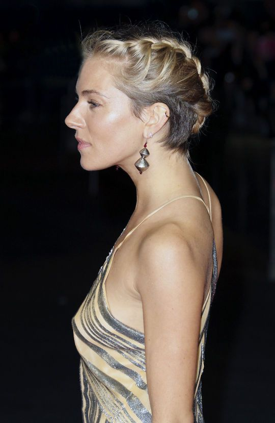 Sienna Miller's French braided updo