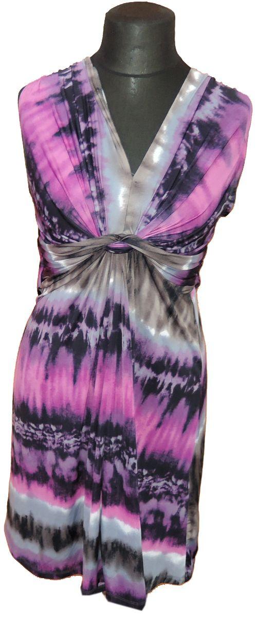 BRUMLA.CZ – Značkový dětský a dospělý second hand a outlet, použité oděvy pro děti a dospělé - Dámské béžovo-růžové vzorované šaty zn. Stelle vel. XL