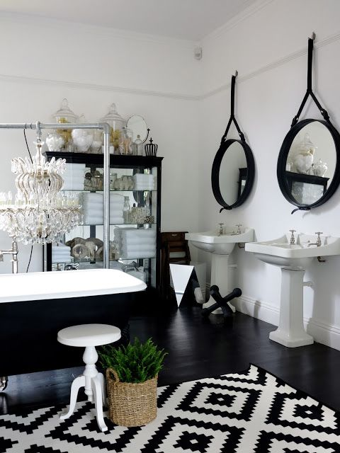Love the mirror backed cabinet for storage