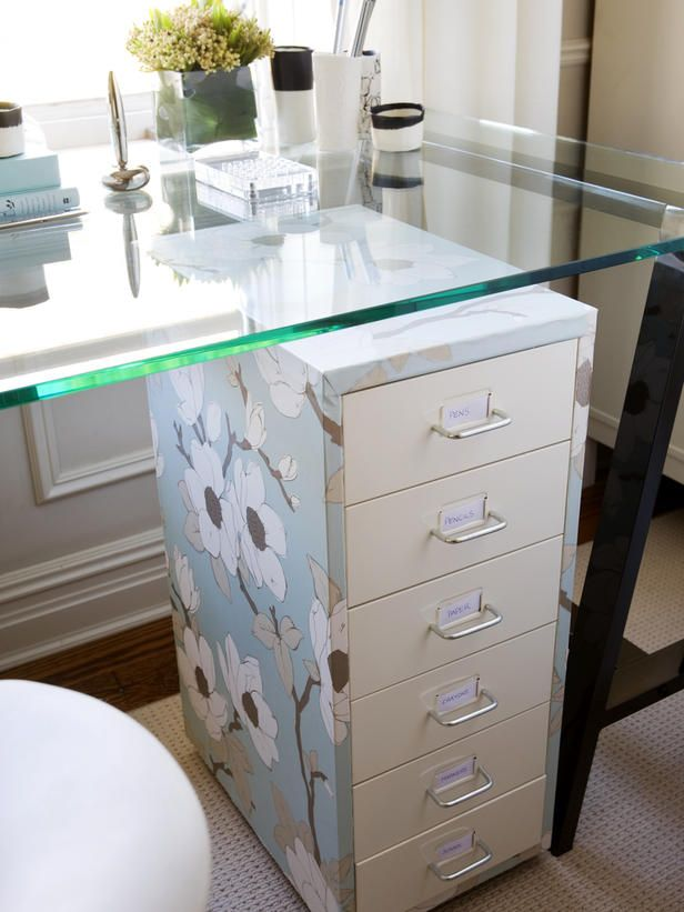 I love this, Wallpaper blase filing cabinet using contact (?) cement and top with glass to create a stylish open office in a tight space!