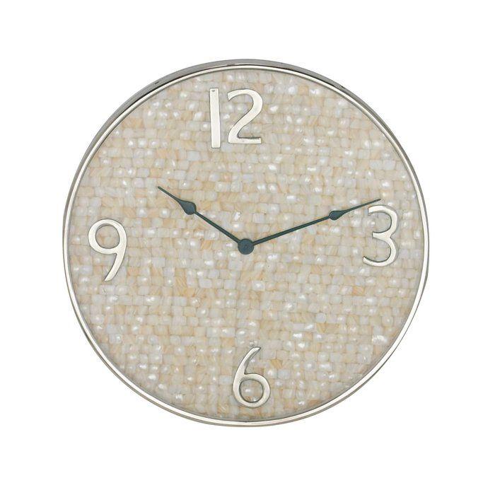 Mentasta Cottage Round Shell Inlaid 18 Wall Clock Silver Wall Clock Wall Clock Oversized Wall Clock