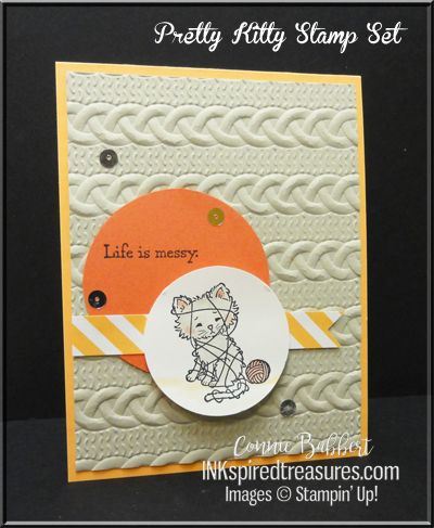 Pretty Kitty, Cable Knit Embossing Folder for the Create with Connie and Mary Color Challenge, Stampin' Up!, #stampinup, created by Connie Babbert, www.inkspiredtreasures.com