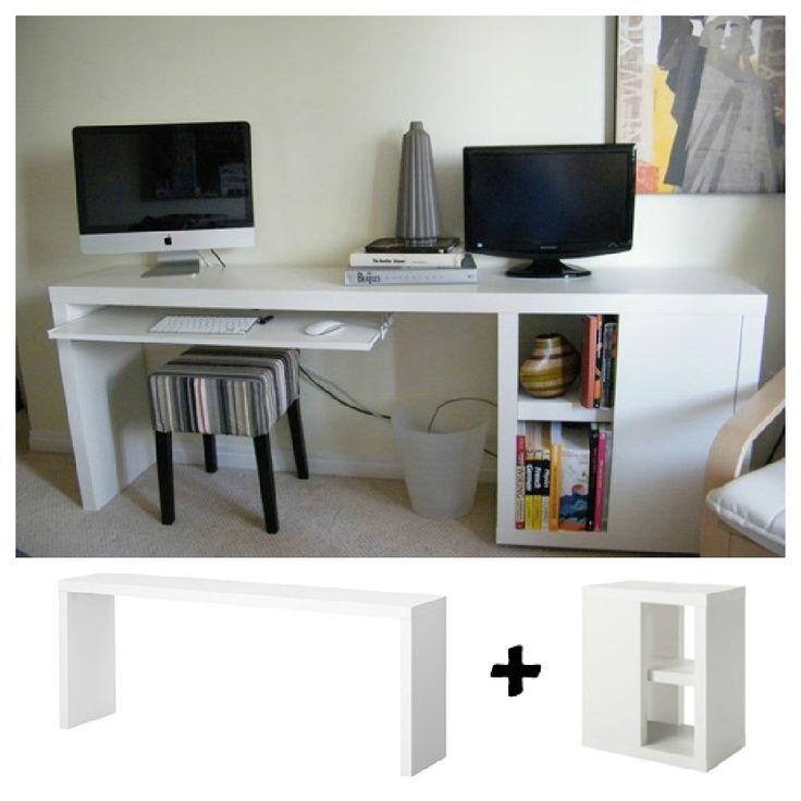 Ikea Hack desk- interesting idea with brightly painted file cabs and a barn wood desk to make the L...