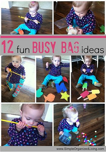 12 fun busy bag ideas via Simple Organized Living a couple airplane activities