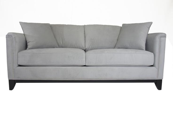 Grey studded sofa hereo sofa for Studded couch