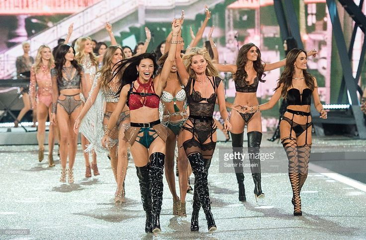 Adriana Lima and Elsa Hosk lead out models as they walk the runway during the annual Victoria's Secret fashion show at Grand Palais on November 30, 2016 in Paris, France.