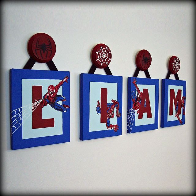 Spiderman Name Wall Art By Little Lamb Letters, Via Flickr   Love This