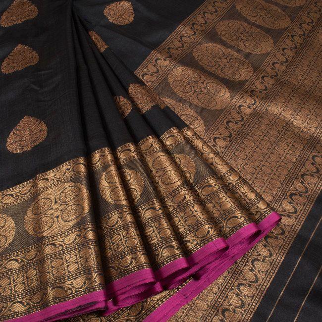 Shivangi Kasliwaal Black Handwoven Banarasi Tussar Silk Saree With Buti Motifs 10008754 - profile - AVISHYA.COM
