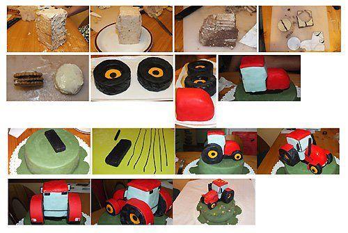 Making a tractor  Tutorial: http://urokilepki.ru/2012/10/traktor-iz-mastiki/    See also the Rose Bakes on: http://rosebakes.com/how-to-make-a-tractor-cake-picture-tutorial-john-deere-tractor/