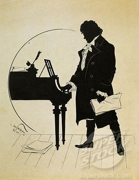 Stock Photo #1788-23735, Austria, Vienna, Ludwig van Beethoven at the piano Silhouette