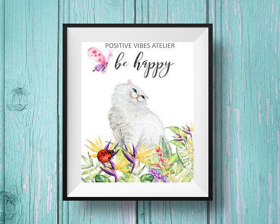 Be Happy Nursery Print, Baby Shower Gift, Woodland Nursery Prints, Nursery Kitten Wall art, Gender Neutral, Printable Poster, Watercolor Art