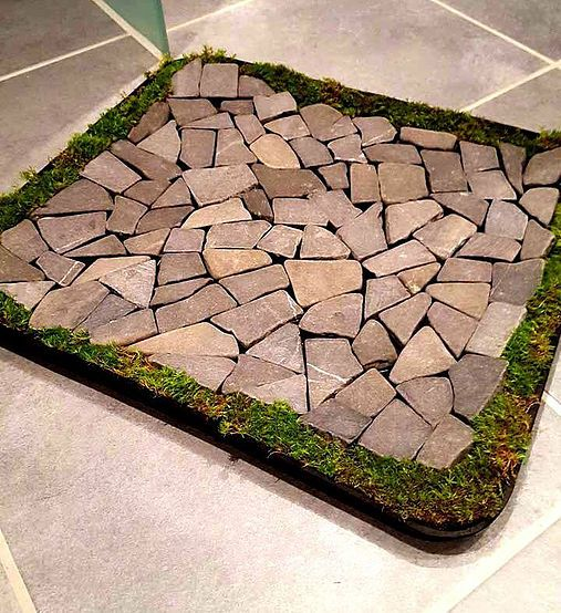 Bath Mat With Rocks And Moss
