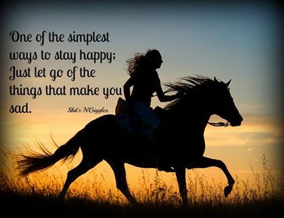 """One of the simplest ways to stay happy: Just let go of the things that make you sad."" #horsetherapy"
