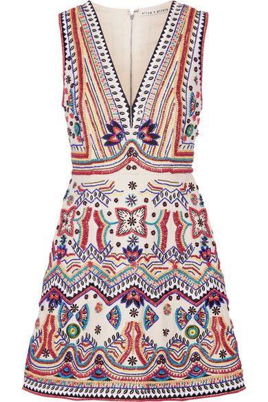 Alice Olivia - Patty Embellished Cotton-canvas Mini Dress - Ivory