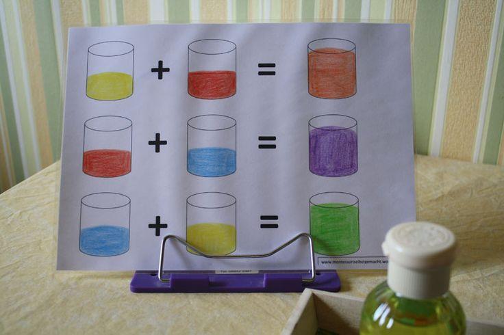 Sie benötigen für dieses Spiel: 1 Tablett mit etwas höherem Rand, Krepppapier in den Grundfarben blau, gelb und rot, 3 ausgespülte Glasfläschchen von Kaffeesahne, 3 Plastik Schnapsbecherchen (0,04l…