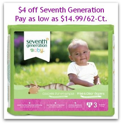 $4 off Seventh Generation Diapers | Pay as low as $0.19 per Diaper on http://www.moneysavingmadness.com