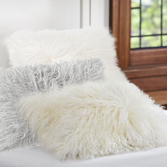 Mongolian Faux Fur Pillow Cover, 12x16, Natural Pottery Barn Teens Sale $35