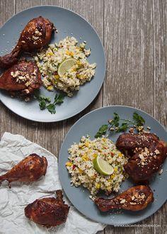 Pikantny kurczak- z masłem orzechowym i imbirem. Marynowanie ciemnego mięsa kurczaka. Pałki, udka, podudzia.