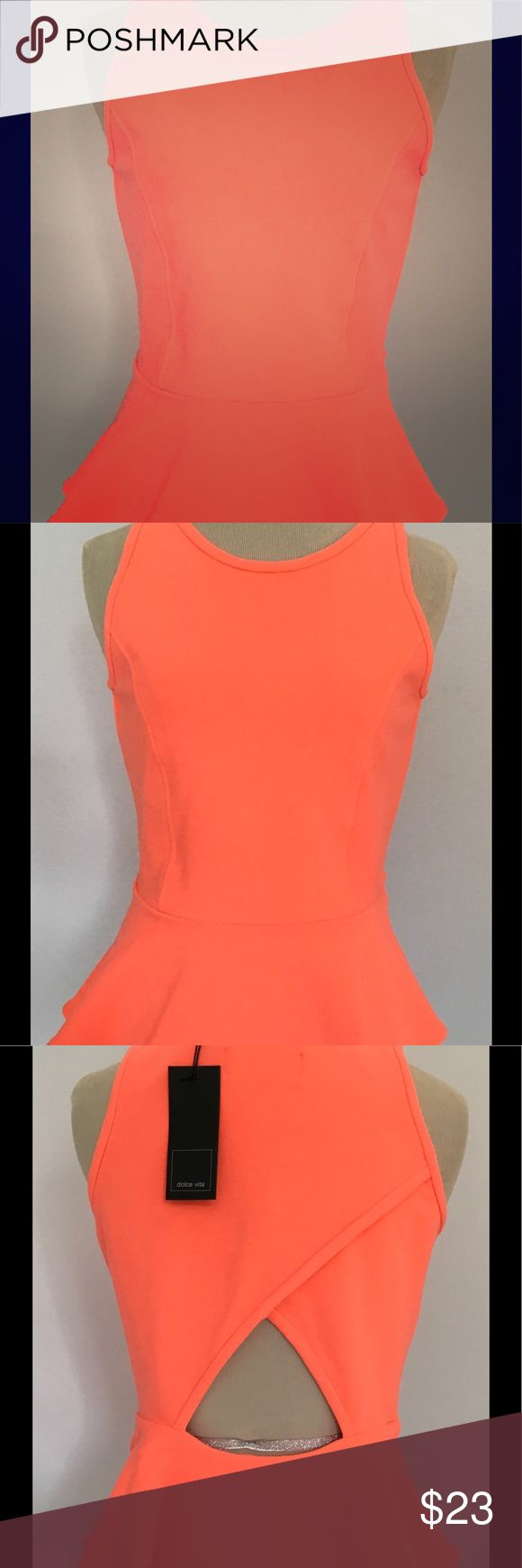 """Dolce Vita Hyla Ponte Peplum Top Orange Coral S Women's Dolce Vita Hyla Ponte Peplum Top in Coral Size S. Brand new condition. Simply gorgeous! Armpit to armpit = 16""""  Overall Length from shoulder = 21"""" Length from waist 6"""" Smoke free! Dolce Vita Tops Tunics"""
