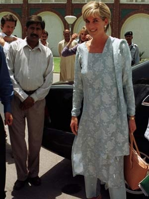 Lahore, Pakistan in May, 1997.  She visited the Memorial Cancer Hospital founded by international cricketer Imran Khan, husband of Diana's friend Jemima Goldsmith.