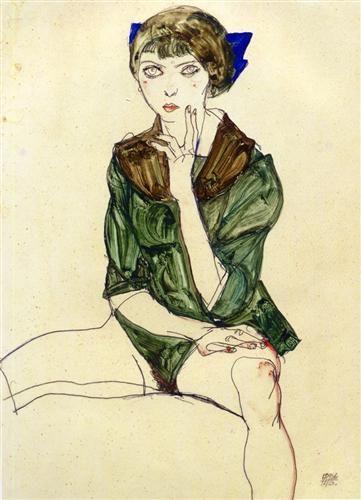 Sitting Woman in a Green Blouse - Egon Schiele