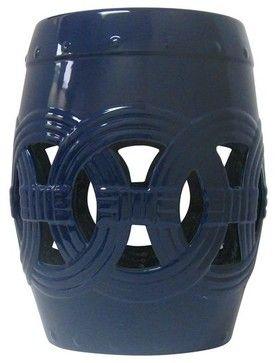Circle of Life Garden Stool, Navy Blue asian-accent-and-garden-stools