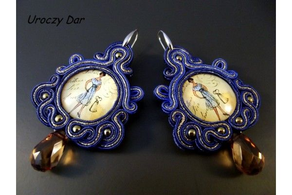 Kolczyki sutasz - madame chic / Soutache Earrings with hematite stone - madame chic [Uroczy Dar] -> Zitolo.com