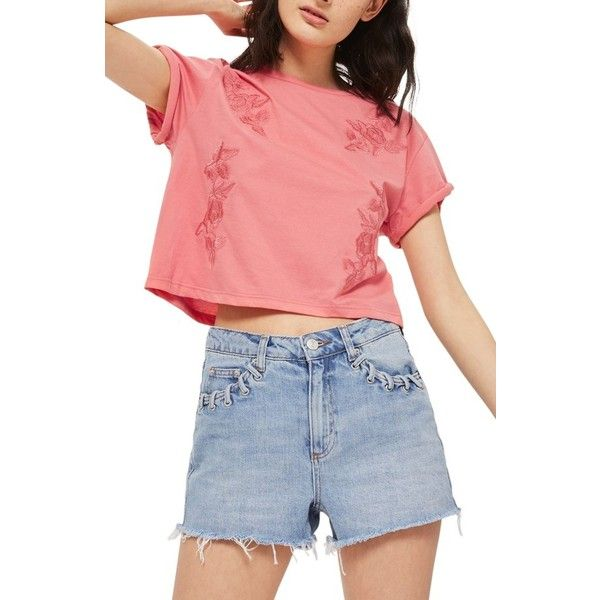 Women's Topshop Embroidered Crop Tee ($28) ❤ liked on Polyvore featuring tops, t-shirts, pink, boxy tee, rose t shirt, cotton t shirts, cotton crop top and embroidered t shirts