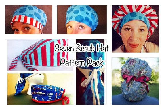 All Seven surgical scrub hat sewing patterns PDF Instant Download on Etsy, $18.00