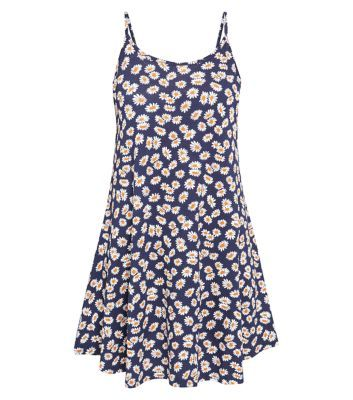 Navy Strappy Daisy Print Swing Dress
